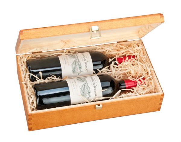 Double Bottle Wooden Luxury Gift Box For Wine Champagne Or Whisky Dark Oak